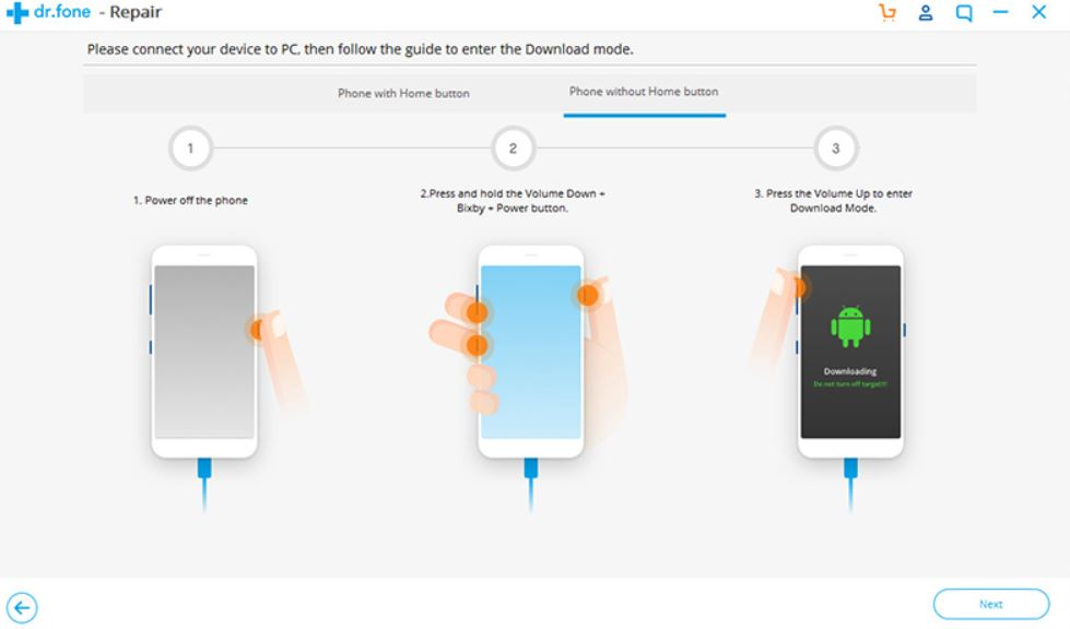 Repair Android in download mode without home button