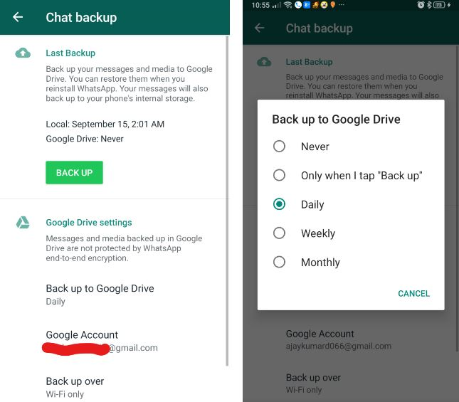 Backup whatsapp data in google drive