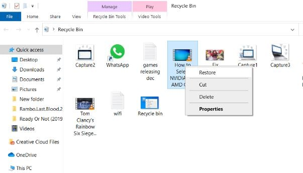 Restore Data from recycle bin