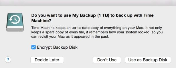 Back up data using external storage device on Mac