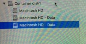 Multiple Mac HD Data Drives created after installing catalina