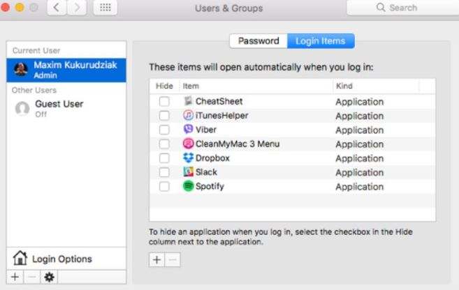 Disable startup items mac
