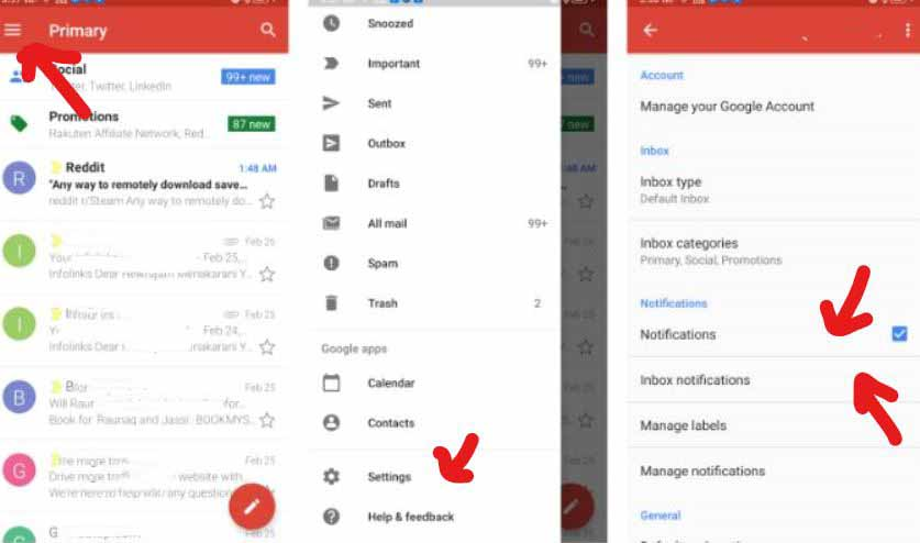 Turn On Notification in Gmail App Settings