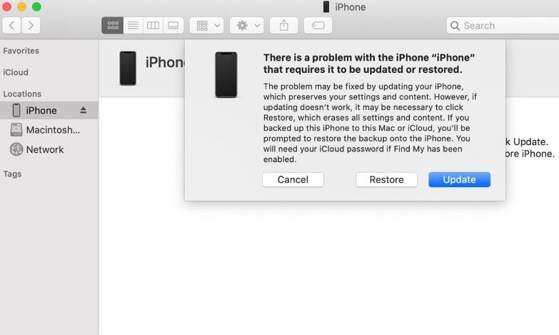 Update iPhone in recovery mode
